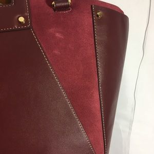3ef87b090b61 Michael Kors Bags - Oxblood Leather and Suede Michael Kors Clara Tote